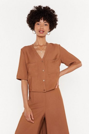 Womens Tan Short Sleeve Boxy Co-Ord Shirt