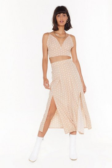 Sand Ready or Spot Polka Dot Midi Skirt