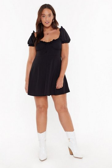 Womens Black MS Ruched Detail Skater Dress