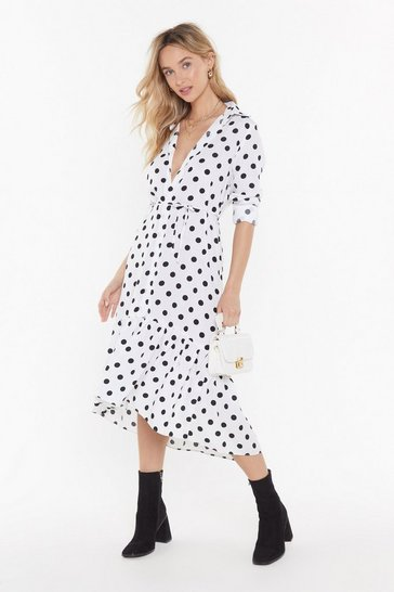 Womens White  What's Dot into You Polka Dot Belted Dress