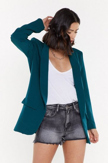 Womens Teal Long Line Blazer