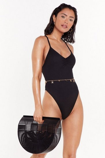 Womens Black Play It Pool Strappy High-Leg Swimsuit