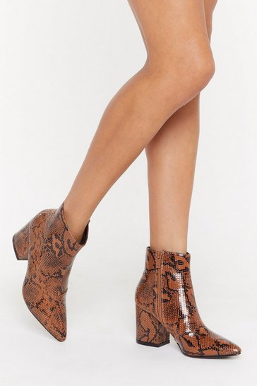 Womens Tan Snake It Faux Leather Heeled Boots