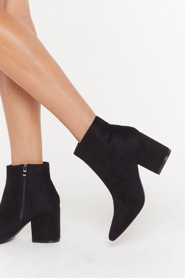 Womens Black What's the Point Faux Suede Block Heel Boot