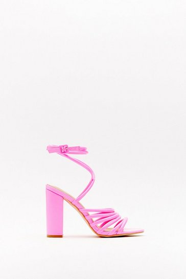 Womens Pink See You There Strappy Block Heels