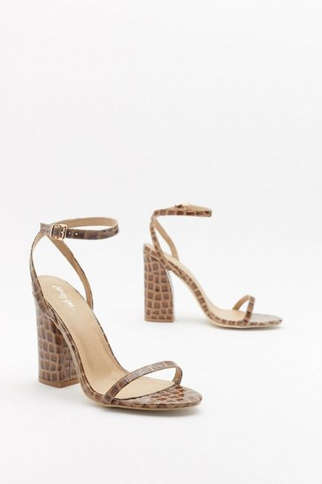 Womens Brown Croc 'N Roll Strappy Block Heels