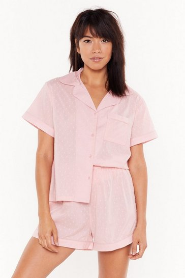 Womens Pink Let Me Sleep Button Short Pajama Set
