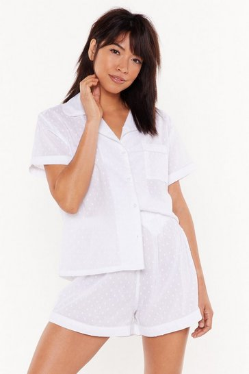 Womens White Let Me Sleep Button Short Pajama Set