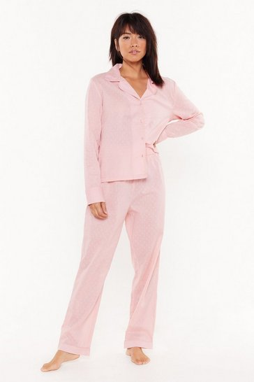 Womens Pink Too Late to Texture Button-Down Pajama Set