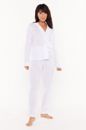 Womens White Too Late to Texture Button-Down Pajama Set