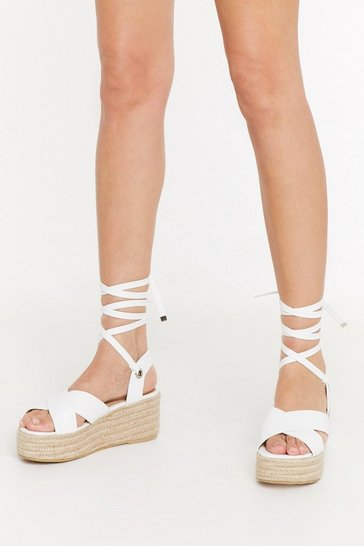 Womens White Didn't Cross My Mind Faux Leather Platform Sandals