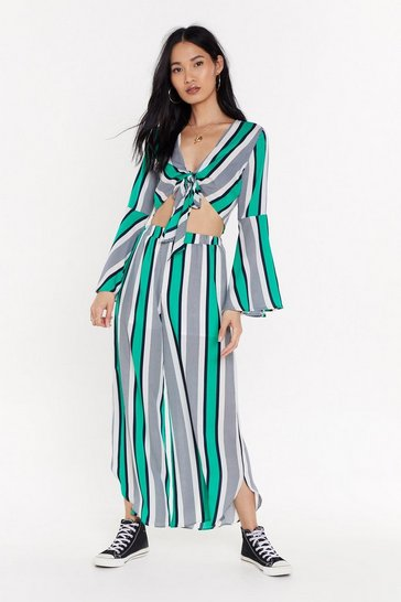 At the Speed of Stripe Slit Pants, Green, FEMMES