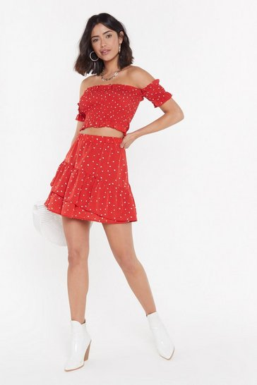 Womens Red Heartbreaker Ruffle Mini Skirt