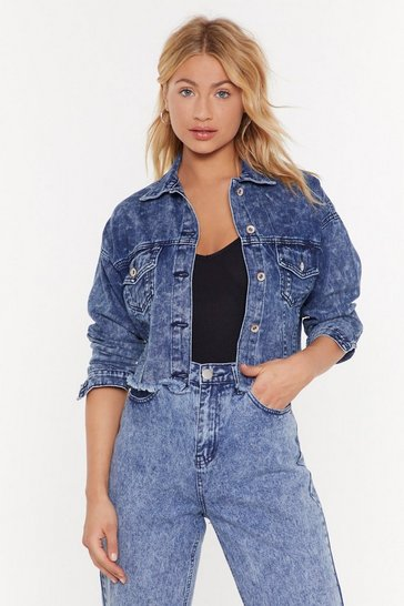 Blue The Music Never Cropped Denim Jacket