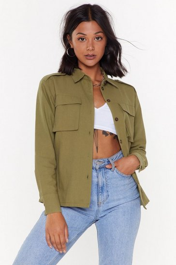 Womens Khaki Truth Shirts Relaxed Utility Shirt