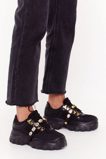 Womens Black Don't Worry About a Bling Chunky Sneakers