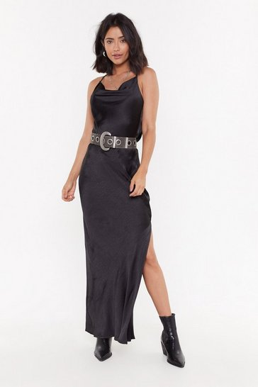 Black Cowl Me Back Babe Satin Maxi Dress