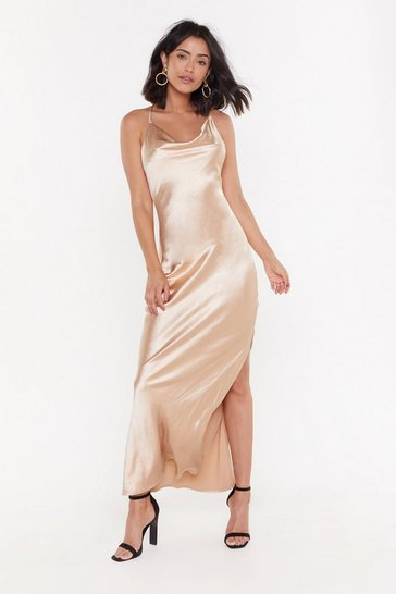 Womens Gold Cowl Me Back Babe Satin Maxi Dress