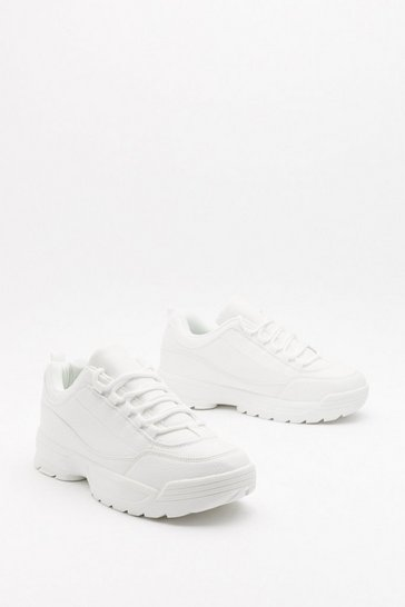 Womens White Running from Our Responsibilities Chunky Sneakers