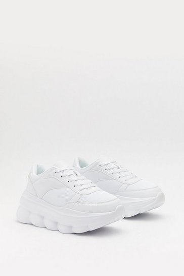 Womens White Bubble Up Chunky Sneakers