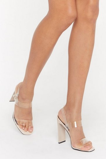 Womens Nude Made It Clear Perspex Strappy Heels