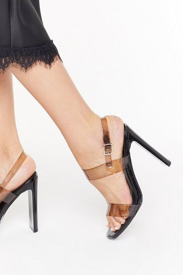 Womens Black Made It Clear Strappy Heels