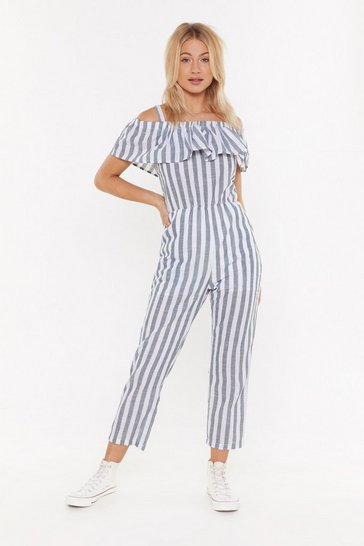 Womens Green Linen Stripe Jumpsuit