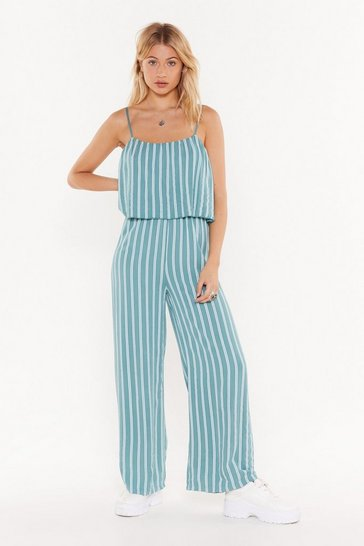 Womens Turquoise Line By Me Striped Linen Jumpsuit