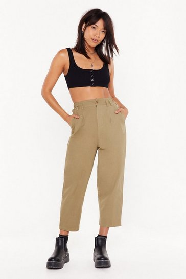 Womens Khaki Woman About Town High-Waisted Cropped Pants
