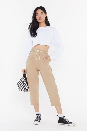 Womens Beige Woven Twill Button Turn Up Trousers