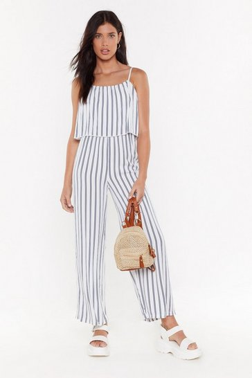 Womens White Maybe You're My Stripe Linen Jumpsuit