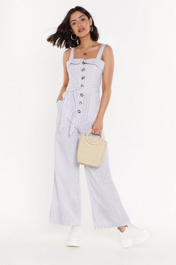 Womens White Linen Button Jumpsuit