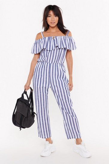 Womens Denim-blue Stripe Place Stripe Time Cold Shoulder Jumpsuit