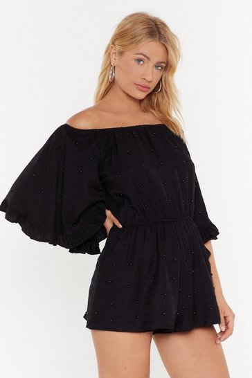 Womens Black Pearl Gone Wild Off-the-Shoulder Romper