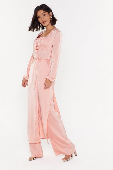 Womens Peach Sleek of the Devil Satin Duster Jacket