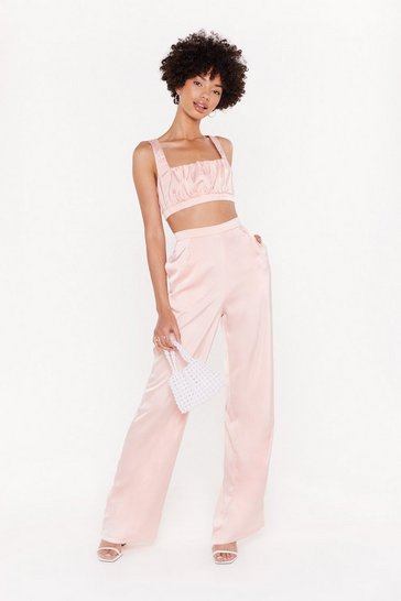 Womens Peach Sleek 'Em Good Satin Wide-Leg Pants