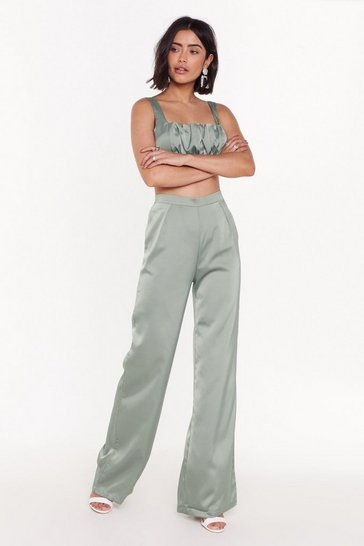 Womens Sage Sleek 'Em Good Satin Wide-Leg Pants