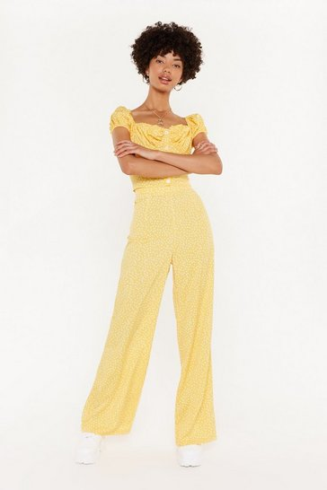 Womens Lemon Not Your Day Wide-Leg Pants