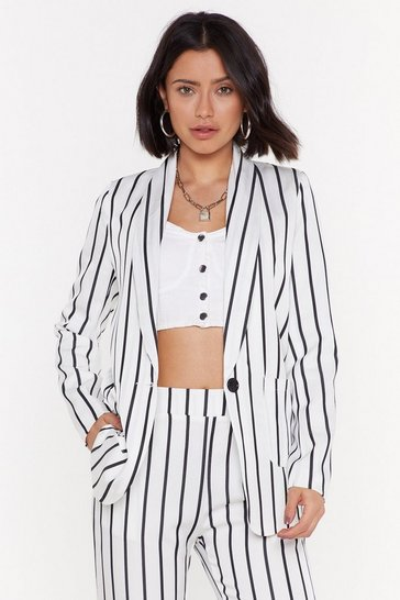 Womens White Stripe to Work Relaxed Blazer