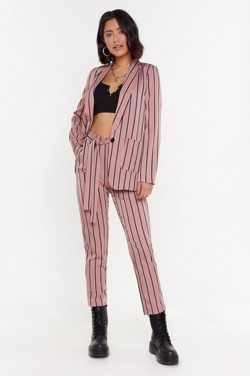 Womens Pink Don't Stop Striping Tailored Trousers
