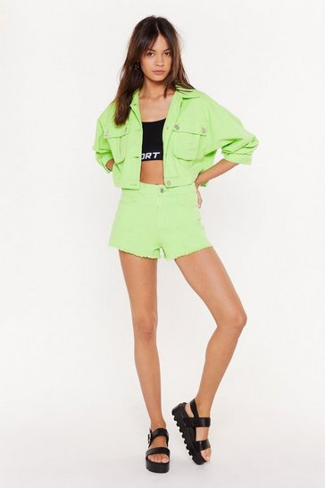 Womens Lime Calling the Denim Raw Shorts