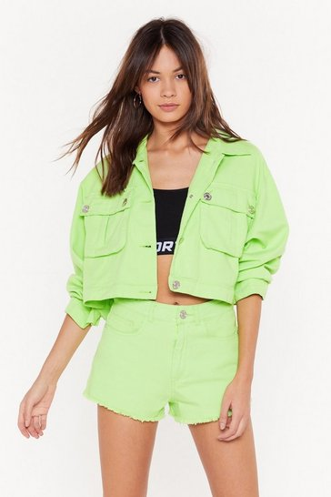 Womens Lime On Crop of the Game Utility Jacket