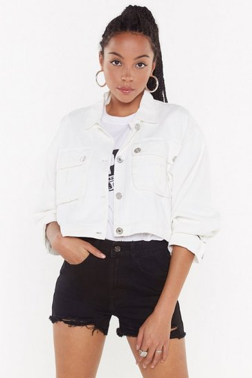 Womens White On Crop of the Game Utility Jacket
