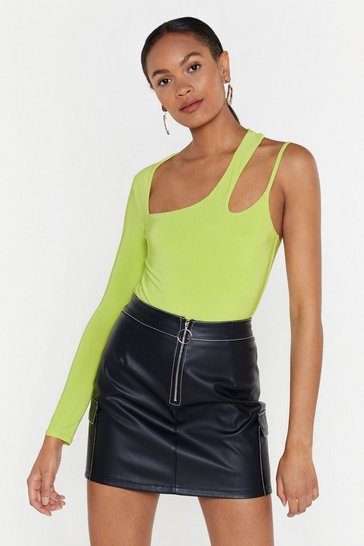 Womens Lime Peel Back the Layers Cut-Out One Shoulder Bodysuit