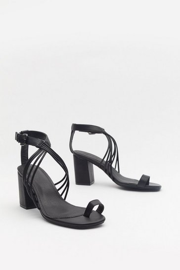 Womens Black Make It Strappy Faux Leather Block Sandals