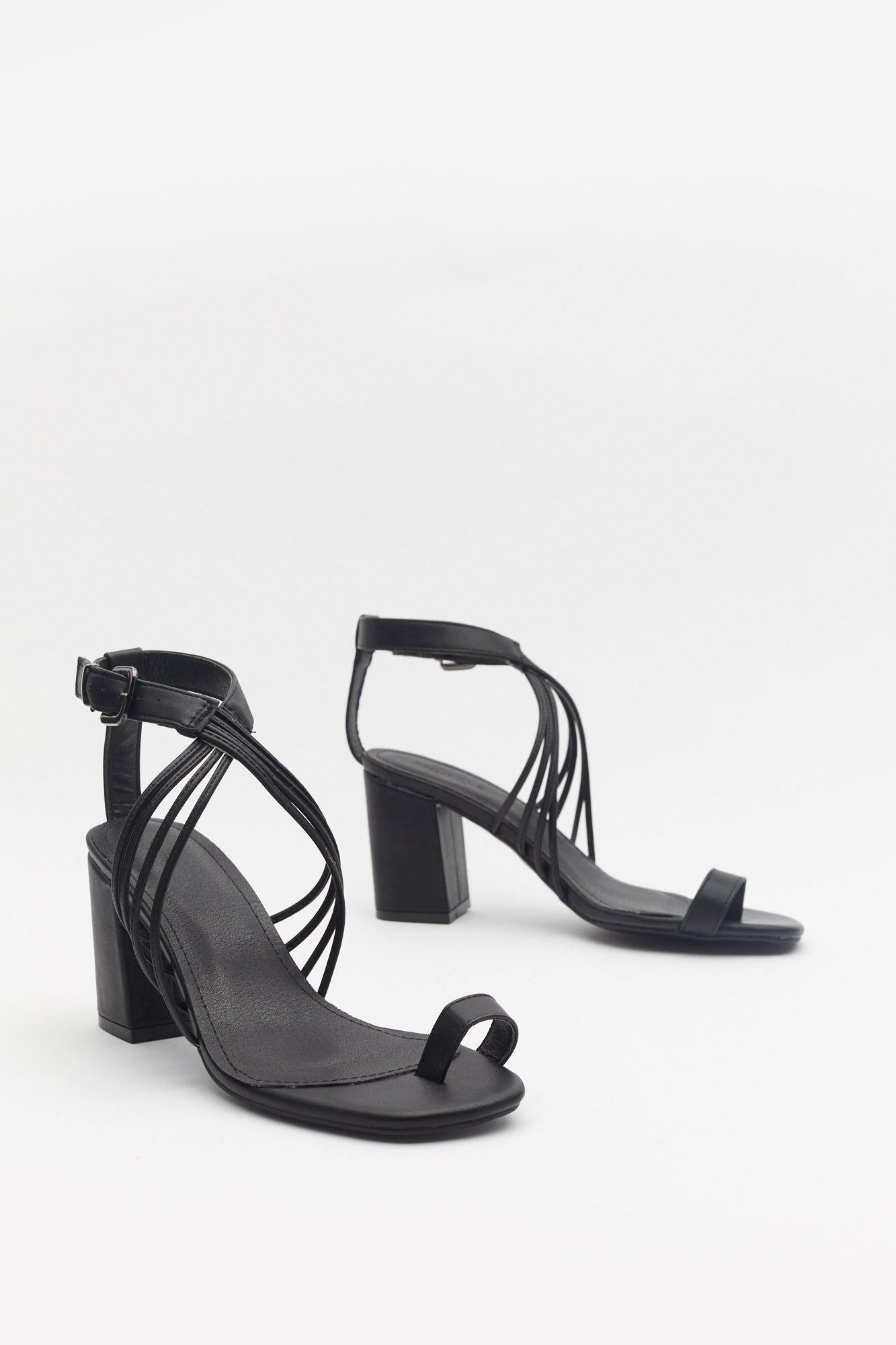 Make It Strappy Faux Leather Block Sandals | Nasty Gal