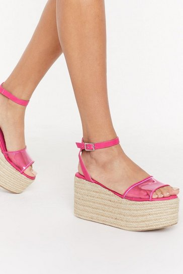 Womens Pink Let's Clear Things Up Perspex Platform Sandals