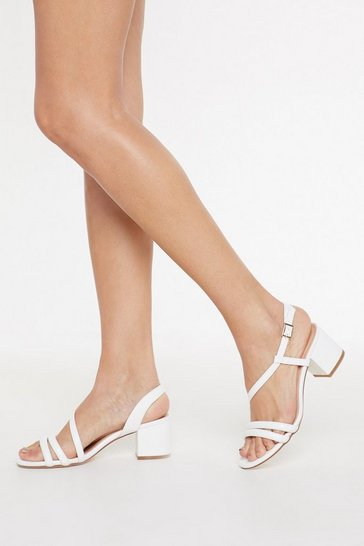 Womens White Cross It Off Faux Leather Tube Sandals