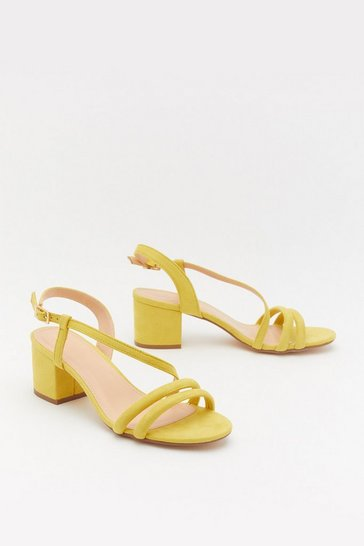 Womens Yellow Cross It Off Faux Suede Tube Sandals