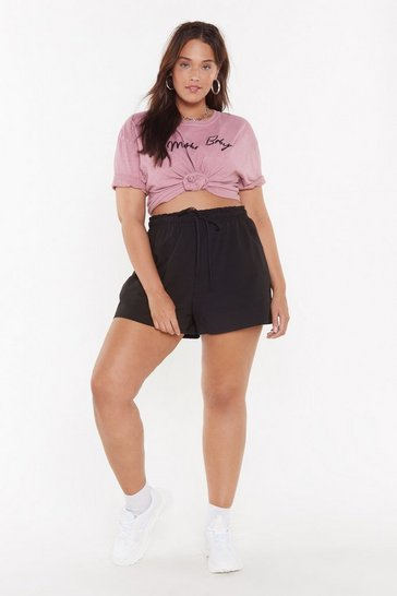Womens Black Waist Not Plus Elasticized Shorts